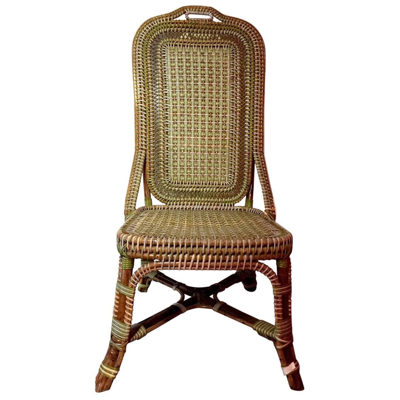 perret u0026amp vibert green rattan chair circa