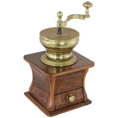 Early 19th Century Dutch Walnut and Brass Coffee Grinder with Lemonwood Inlay