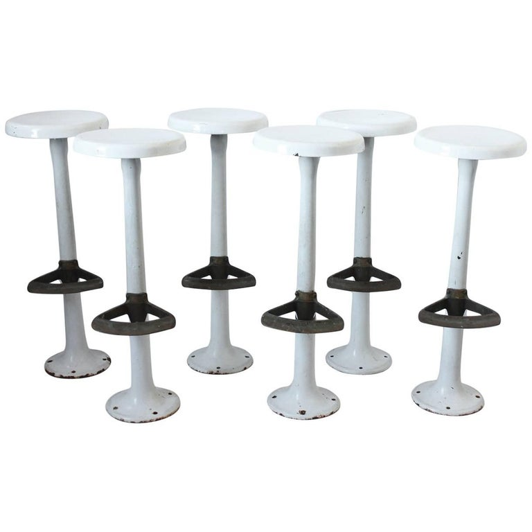 Antique Soda Fountain Porcelain Bar Stools For Sale At 1stdibs