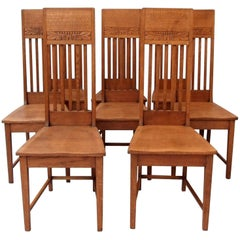Glasgow School Oak Dining Chairs