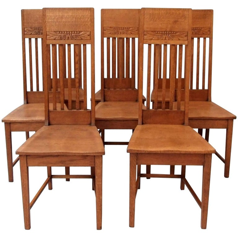 Glasgow school oak dining chairs for sale at 1stdibs - Dining room furniture glasgow ...
