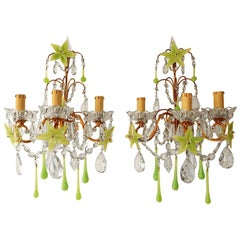 1920 French Green Opaline Murano Flowers and Drops Crystal Sconces