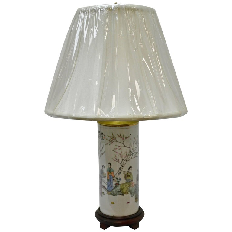 Chinese Porcelain Hat Stand Table Lamp At 1stdibs