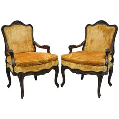 Pair of Vintage Country French Louis XV Style Carved Hollywood Regency Armchairs