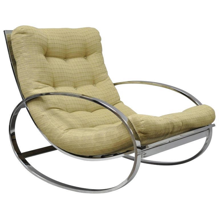 Mid Century Modern Renato Zevi Selig Ellipse Milo Baughman Chrome Rocking Chair For Sale
