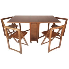 Mid-Century Modern Drop-Leaf Dining Table with Chairs