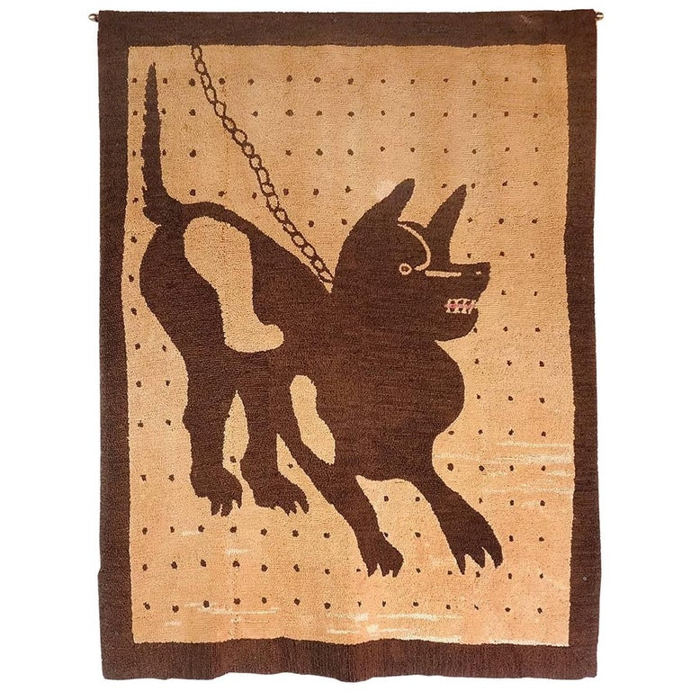 Bad Dog Folk Art Hooked Rug 1