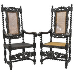 Jacobean Renaissance Revival Cherub Carved Parlor Throne Chairs Armchairs