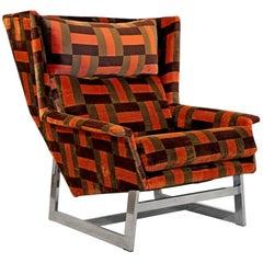 Mid-Century Modern Rare Milo Baughman High Back Chrome Lounge Chair Wing Style