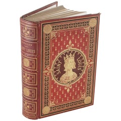 Red Leather Book with Gold Tooling Chronicling the Life of Saint Louis
