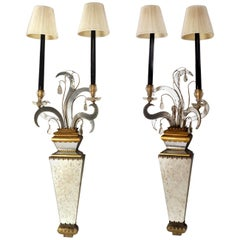 Pair of Two-Light Mirrored Wall Sconces,