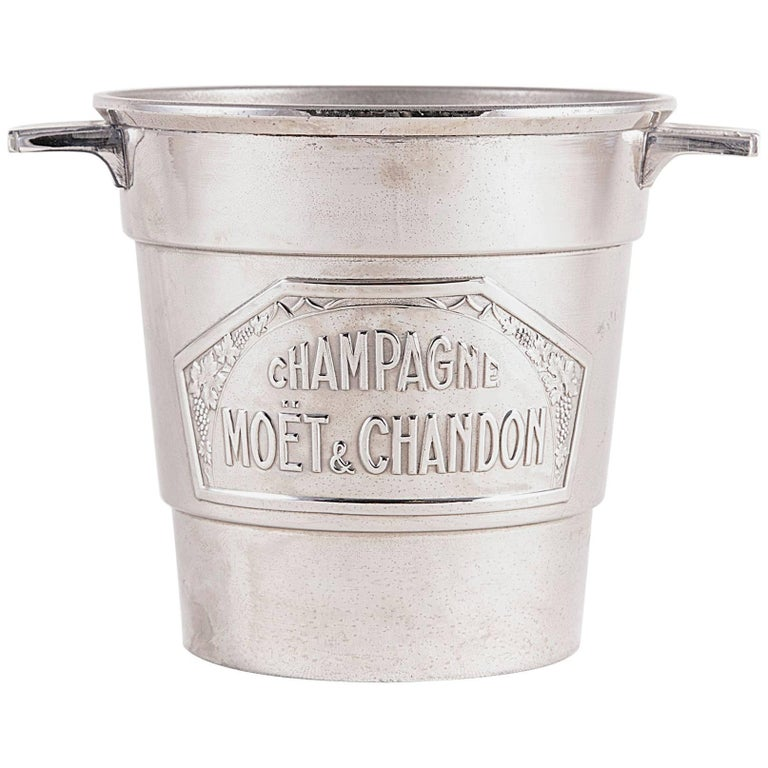 French Art Deco Period Small-Scale Silver Plate Moet et Chandon Champagne Bucket For Sale