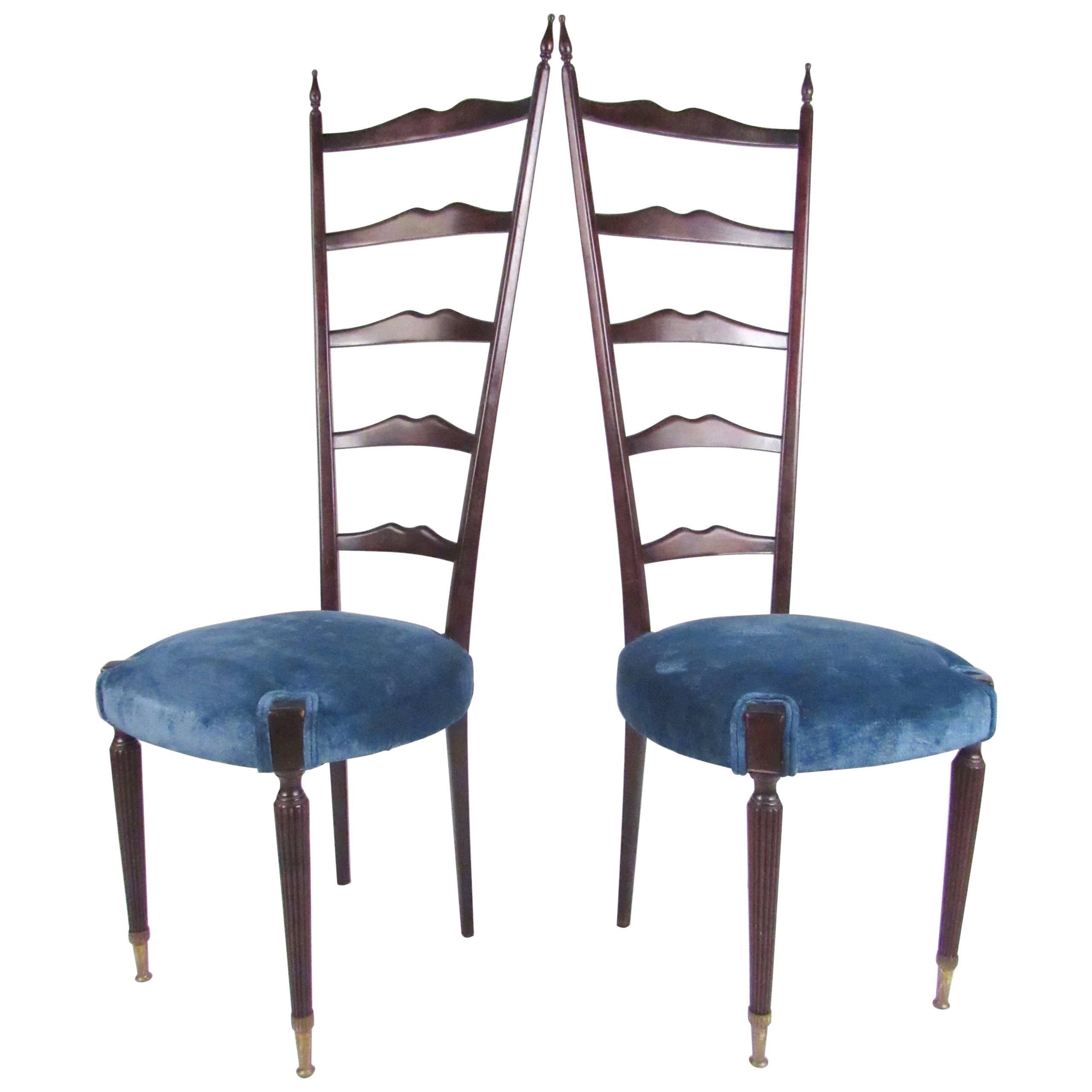 Pair of Vintage Modern Chiavari Style High Back Chairs