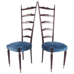 Pair of Vintage Modern Chiavari Style High Back Chairs