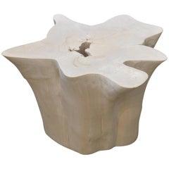 Bleached Teak Wood Side Table