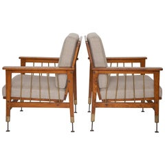 Pair of Arts & Crafts Morris-Style Oak and Brass Armchairs