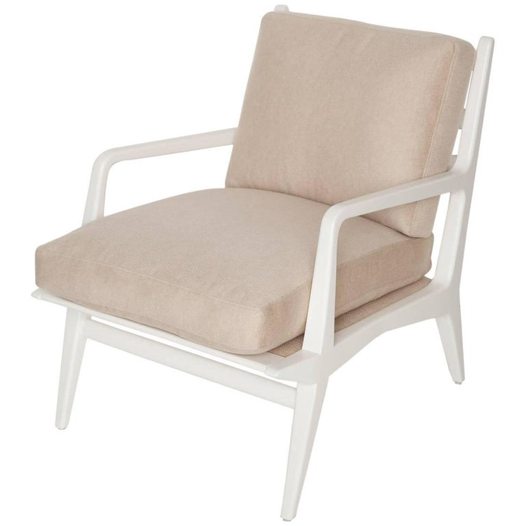 Carlo Di Carli Cashmere Upholstered Lounge Chair for Singer & Sons, Circa 1955