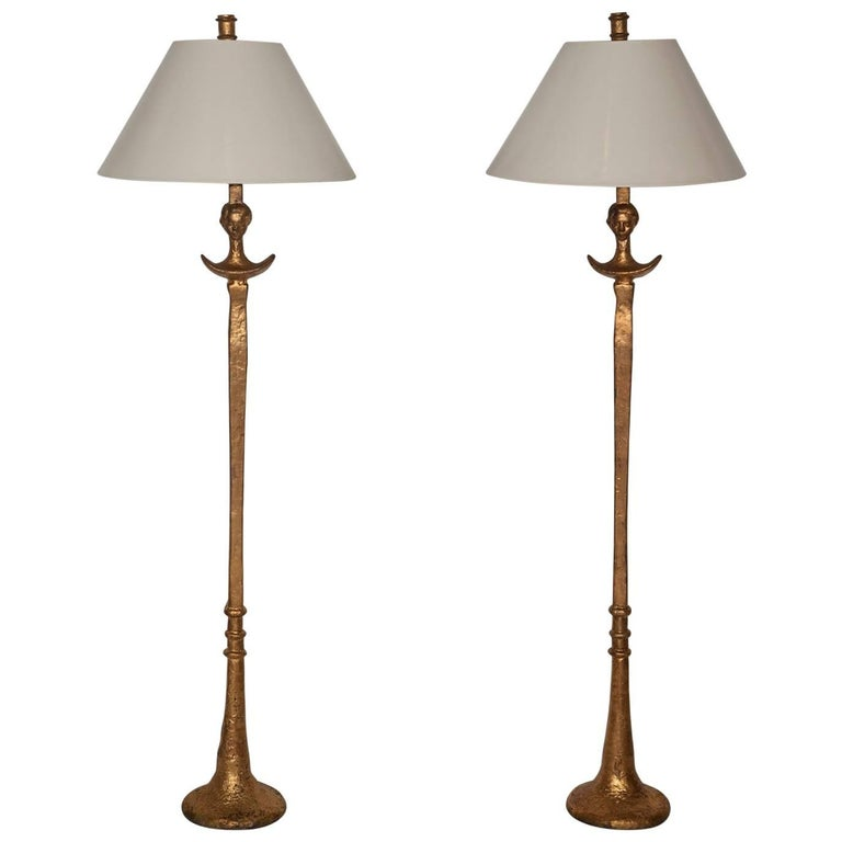Pair of Giacometti-Inspired Tete de Femme Floor Lamps 1
