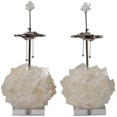 Pair of Calcite Crystal Table Lamps by Kathryn McCoy