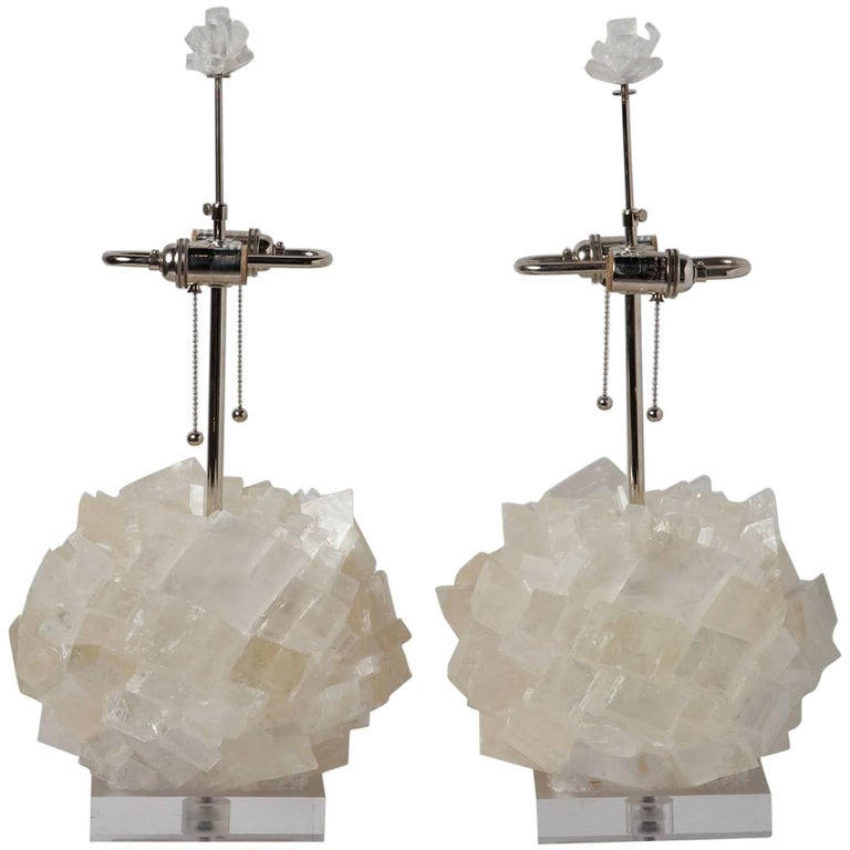 Pair of Calcite Crystal Table Lamps by Kathryn McCoy For Sale