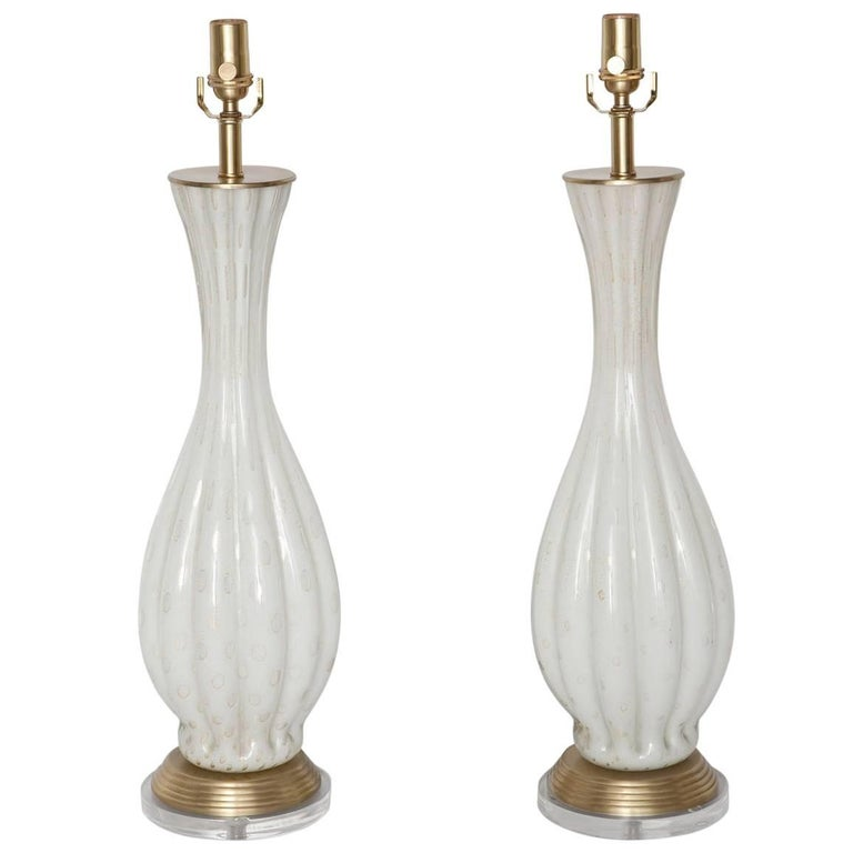 Fully Restored White Bullicante Murano Glass Lamps with Gold Leaf, circa 1960 For Sale