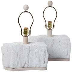 Pair of Sirmos Plaster Rock Formation Boudoir Lamps