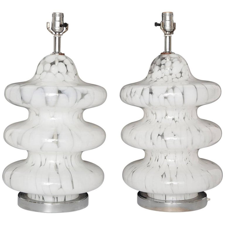 Pair of Three-Tiered Clear and White Mottled Murano Glass Lamps, circa 1970 For Sale