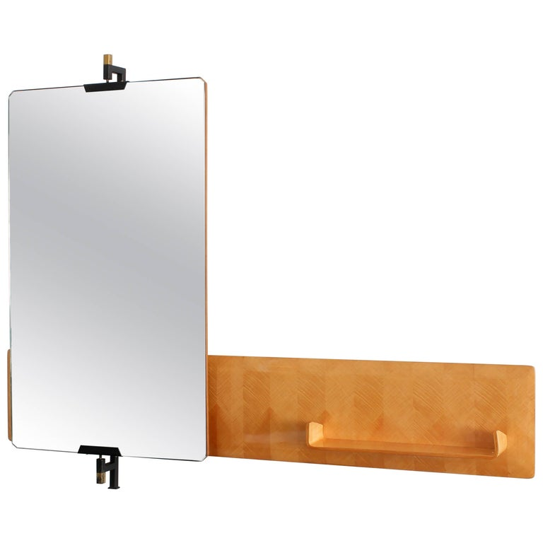 Large Italian Pivoting Floating Mirror and Shelf