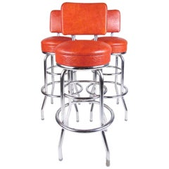 Set of Three Vintage Modern Swivel Bar Stools