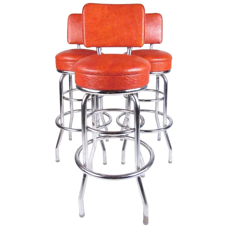 Set Of Three Vintage Modern Swivel Bar Stools For Sale At