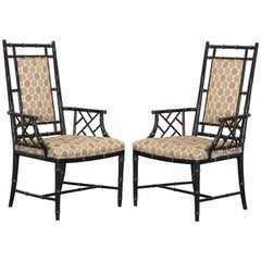Chinese Chippendale Ebonized Faux Bamboo Chairs, 1960