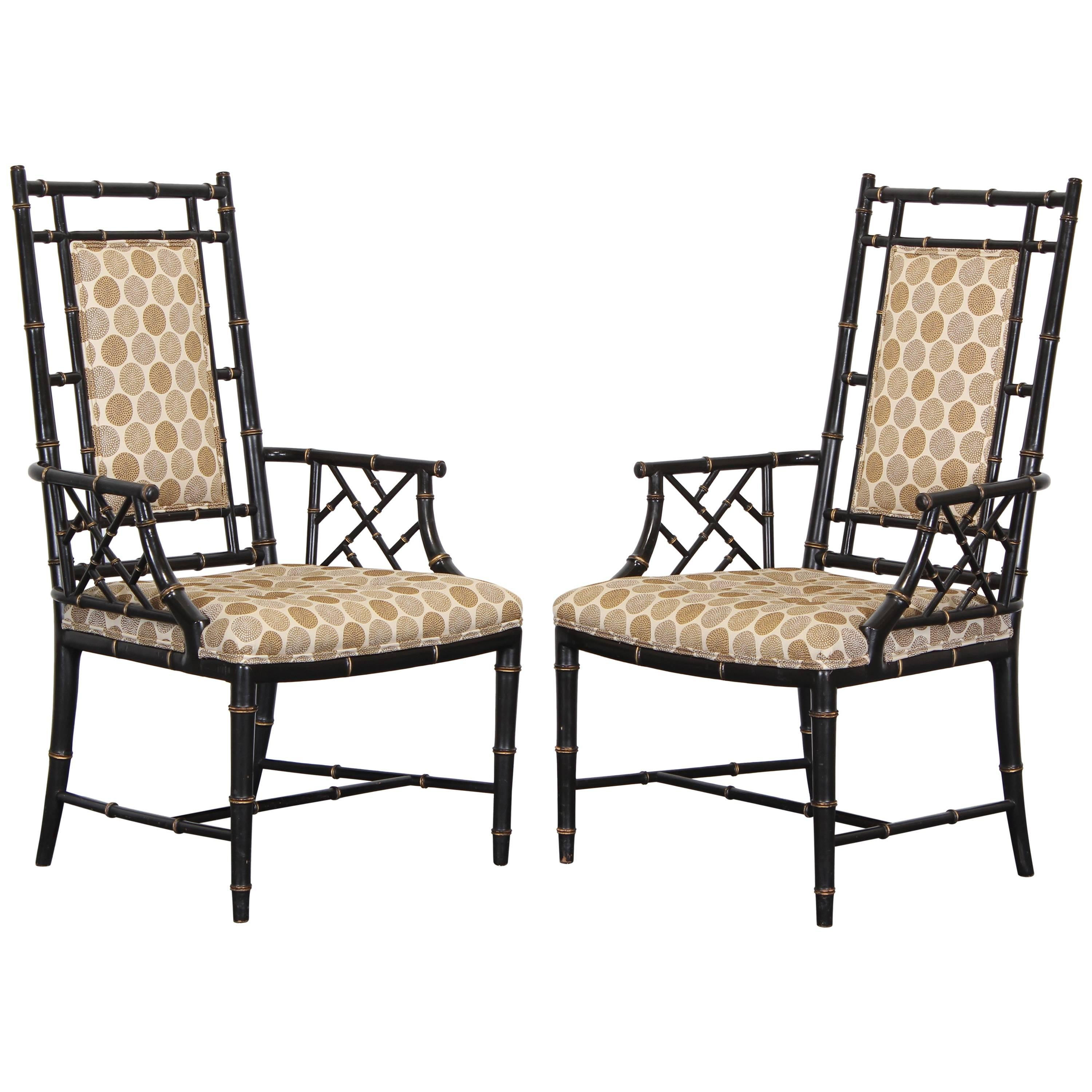 Chinese Chippendale Ebonized Faux Bamboo Chairs, 1960 1