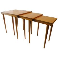 "Russel Wright for Conant Ball ""American Modern"" Trio Nesting Tables"
