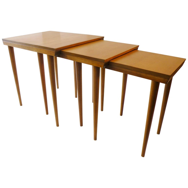 "Russel Wright for Conant Ball ""American Modern"" Trio Nesting Tables For Sale"