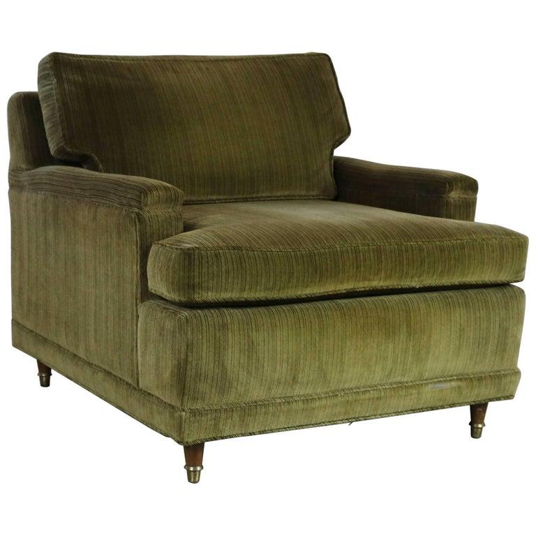 Deep Green Velvet Lawson Style Vintage Club Chair Mid