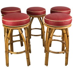 Set of Five Bamboo Swivel Bar or Counter Stools by Heywood Wakefield