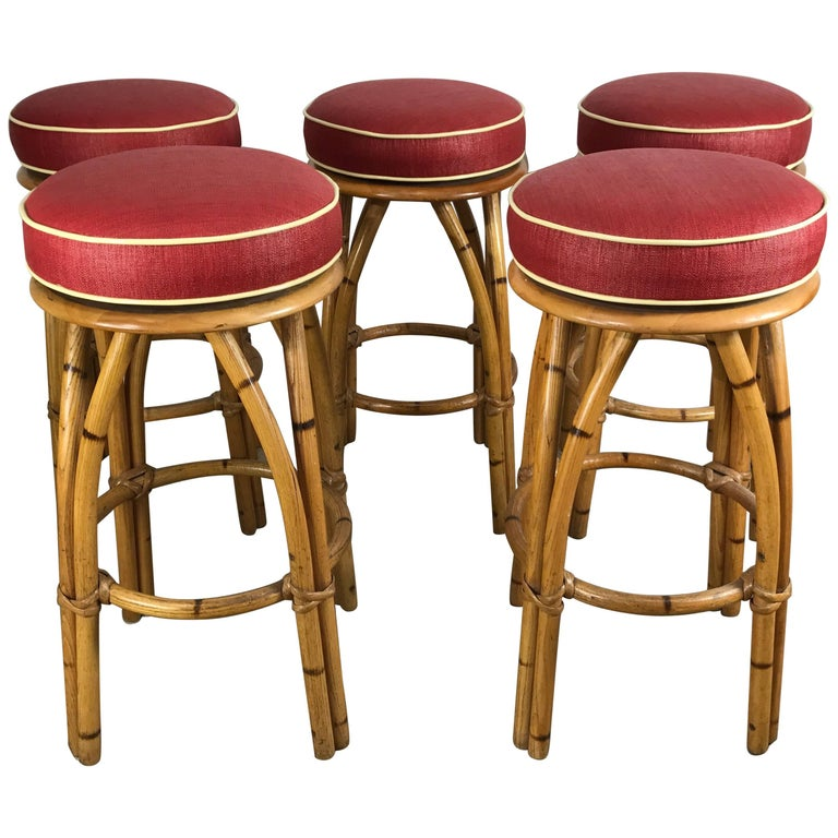 Set Of Five Bamboo Swivel Bar Or Counter Stools By Heywood