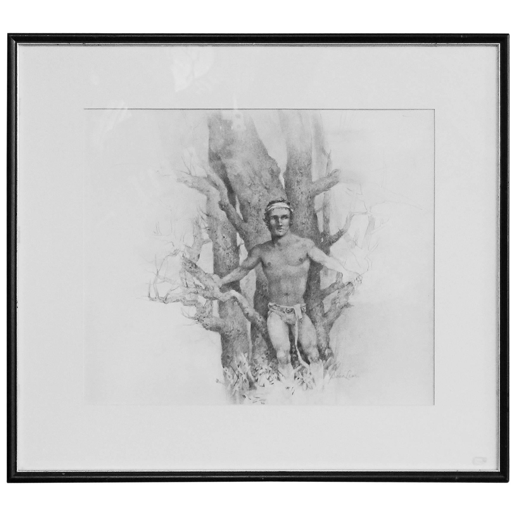 """Semi-Nude Man with Beech Tree,"" Pencil Drawing by John Lear"