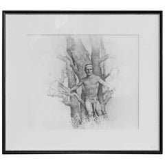 """Semi-Nude Man with Beech Tree,"" Pencil Drawing by John Lear"