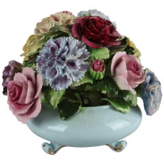 English Royal Adderley Hand-Painted & Gilt Bone China Floral Bouquet, circa 1950