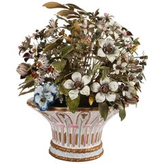 """Fluers Des Siecles"" by Jane Hutcheson Enamel Bouquet in Gorham School Basket"