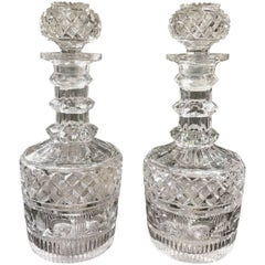 Pair of English Cut-Glass Decanters, Mid-19th Century