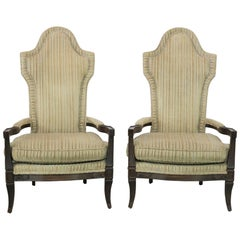 Midcentury Hollywood Regency Mediterranean High Backed Pair of Armchairs