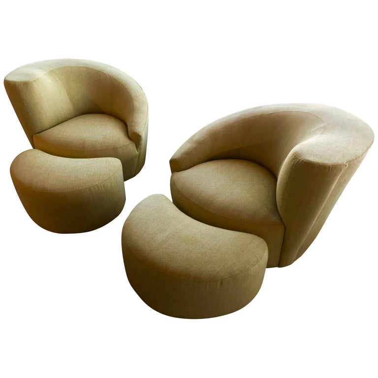 Pair of Vladimir Kagan Designed Nautilus Chairs with Matching Ottomans For Sale