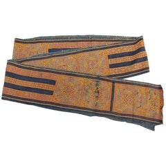 Vintage Indonesian Handwoven Belt Tent in Orange, Yellow, Indigo and White