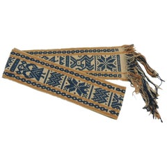 Vintage Turkish Handwoven Yellow and Blue Belt with Fringes