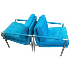 Pair of Aluminium Lounge Chairs in the Manner of Harvey Probber