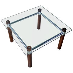 Oak Chrome Glass End Table Mid-Century Modern