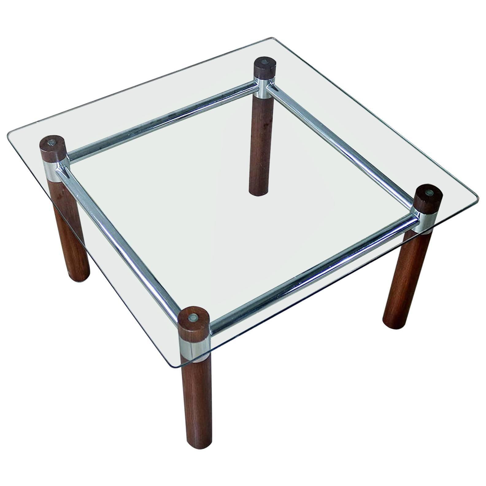 Oak Chrome Glass End Table Mid Century Modern 1