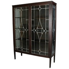 Antique Arts & Crafts Stickley School Mission Oak and Leaded Glass Bookcase